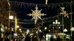 Pedestrian Zone in the Swedish city Sundsvall at Christmas time. Stock Footage