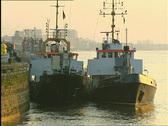 Tugs in Antwerp harbour Stock Footage