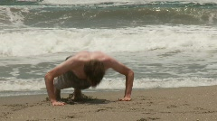 Push-Up Ath The Beach Stock Footage