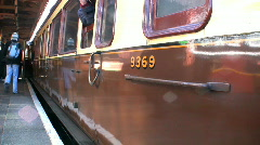Old carriages leaving the station Stock Footage