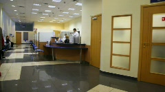 Review of reception premise in bank Stock Footage