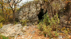 Cave in rocks among trees in autumn Stock Footage