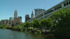 Cleveland scenic from boat 1 - stock footage