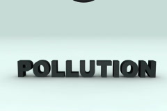 Rotating planet earth destroy Pollution word in slow motion, 3d animation Stock Footage