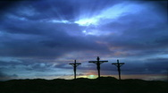 Stock Video Footage of Three Crosses on a Hill