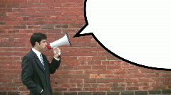 Megaphone man with speechbubble.  Stock Footage