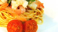 Vegetarian Seafood Pasta Stock Footage