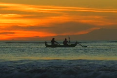 Bali Sunset Boat Lovina Beach Stock Footage