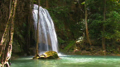 Erawan Lovely Peaceful Waterfall Kanchanaburi Thailand Falling Water Paradise  - stock footage