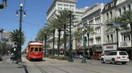 Stock Video Footage of Street Car At Canal & Bourbon