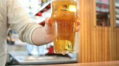 Bartender Serving Beer Stock Footage