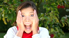 Surprised asian woman - stock footage