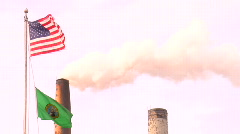 Stock Video Footage of smokestack&USflag