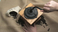 Stock Video Footage of Grinding Coffee Beans The Hard Way