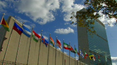 UNITED NATIONS BUILDING UN Security Council Exterior New York City - stock footage