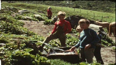 Children playing at water trough (vintage 8 mm amateur film) Stock Footage
