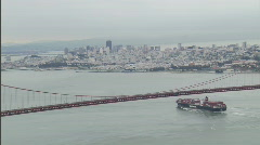 Commercial shipping Golden Gate Bridge 1080-2 Stock Footage