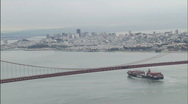Stock Video Footage of Commercial shipping Golden Gate Bridge 1080-2