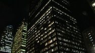 Downtown skyscrapers at night.  Stock Footage