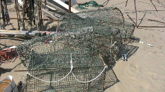 Fish trap on the beach Stock Footage
