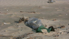Beach - pollution of the environment Stock Footage
