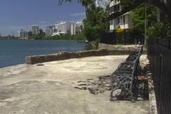 Puerto Rico - Condado Lagoon: empty lonely bench small pasive park, Puerto Rico Stock Footage