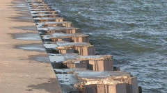 Waves Breaking Off the Pier Stock Footage