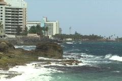Puerto Rico - Condado: rocky shoreline looking west Stock Footage