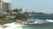 Stock Video Footage of Puerto Rico - Condado: rocky shoreline looking west