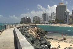 Puerto Rico - Condado: water breaker 1 Stock Footage