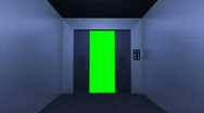 Stock Video Footage of 3D Elevator Exit Key Green