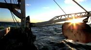 Sunrise Fishing Boat Stock Footage