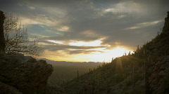 (1163) Twilight Arizona Desert Sunset Clouds with Cactus Saguaros Stock Footage