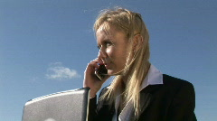 3D animation showing people talking on phone Stock Footage