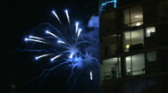 Stock Video Footage of Fireworks and Buildings