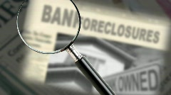 Bank foreclosure headline Stock Footage