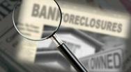Stock Video Footage of bank foreclosure headline