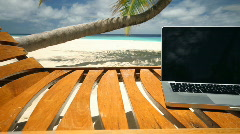 Notebook on beach dolly Stock Footage