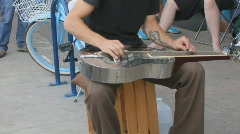 Street fair event - 2 - 14 silver steel guitar street musician - stock footage