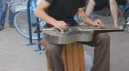 Street fair event - 2 - 14 silver steel guitar street musician Stock Footage