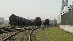 Rail road tracks fuel wagon Stock Footage