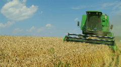 Combine Harvesting Wheat 03 Stock Footage