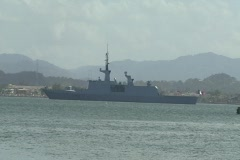French F712-Courbet missile warship 1 Stock Footage