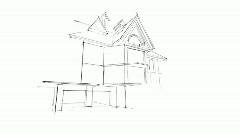 Architecture sketch of the house  Stock Footage