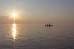 Saltwater Fishing Sunset Stock Footage