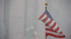 Stock video footage USA American flag in the snow Stock Footage