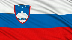 Slovenian flag, with real structure of a fabric Stock Footage