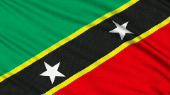Saint Kitts and Nevis Flag flag, with real structure of a fabric Stock Footage