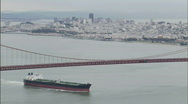 Stock Video Footage of Golden Gate Bridge Barge Zoom 1080