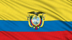 Ecuadorian flag, with real structure of a fabric Stock Footage